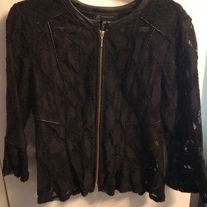 Black lace with faux leather trim jacket.